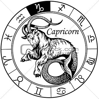 capricorn zodiac sign black white