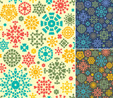 Abstract Seamless Patterns Set In Three Colors