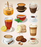 Set of delicious hot drinks: coffee, tea and supplies.