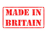 Made in Britain - inscription on Red Rubber Stamp.