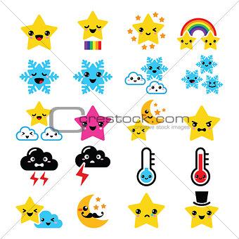 Cute weather kawaii icons -star, rainbow, moon, snowflake, thunders and cloud