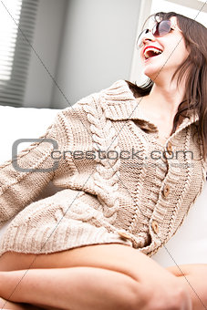 laughing gorgeous woman with sunglasses
