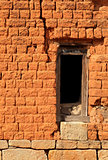 Window frame in brick wall