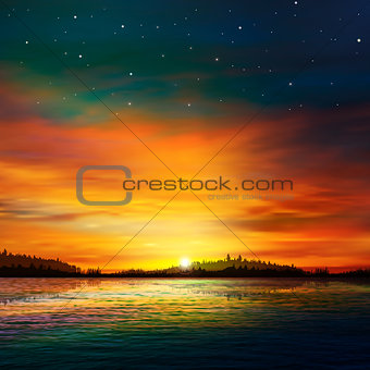 abstract nature background with forest lake and sunrise