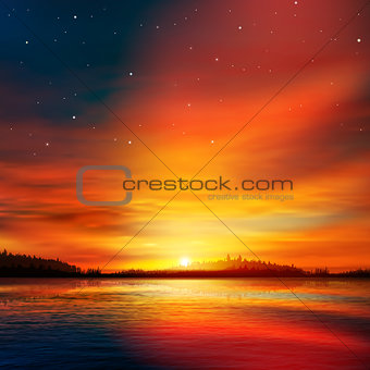 abstract nature background with forest lake and sunset