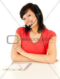 Beautiful laughing cheerful woman with headphones, white backgro