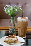 Banoffee pie with ice coffee