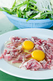 yolk egg and raw meat