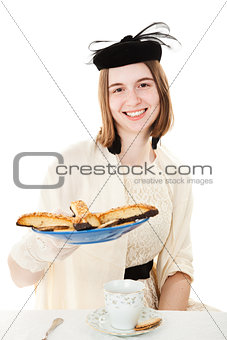 Teen at Tea Party with Cookies