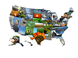 Photo collage of unusual map of states of USA