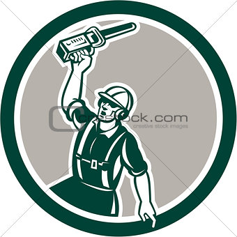 Arborist Holding Up Chainsaw Circle Retro