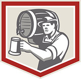 Barman Lifting Barrel Pouring Beer Mug Retro