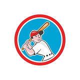 Baseball Player Batting Looking Up Circle Cartoon