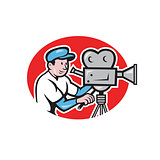 Cameraman Vintage Film Movie Camera Cartoon