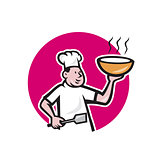 Chef Cook Holding Bowl Oval Cartoon