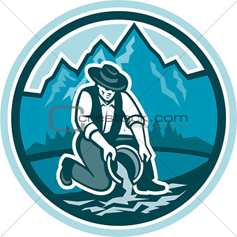 Gold Prospector Miner Panning Circle Retro