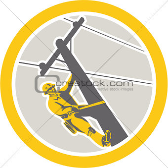 Power Lineman Repairman Climbing Pole Circle