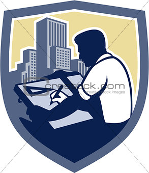Architect Draftsman Drawing Shield Retro