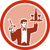 Waiter Serving Wine Holding Corkscrew Retro