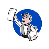 Newsboy Selling Newspaper Circle Cartoon