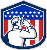 American Soldier Saluting Flag Shield