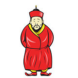 Chinese Asian Man Wearing Robe Cartoon