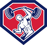 Weightlifter Lifting Barbell Shield Retro