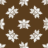 Brown seamless floral pattern with stylized flowers