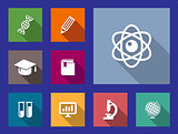 Set of flat education and science icons