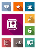 Flat safety and security icons