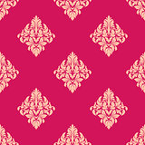 Pink and beige floral seamless pattern