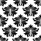 Seamless pattern with big black flowers