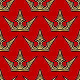 Golden crowns seamless pattern background