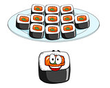 Set of cartoon sushi cons