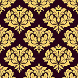 Pretty gold and brown seamless damask pattern