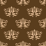 Brown and beige seamless arabesque pattern