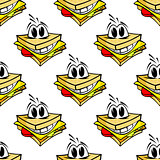 Happy cartoon cheese sandwich seamless pattern
