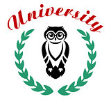 Black owl in wreath as university symbol