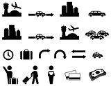 Airport transfer icon set
