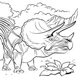 Triceratops dinosaur for coloring book - Illustration
