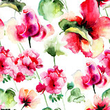 Seamless wallpaper with Geranium and Rose flowers