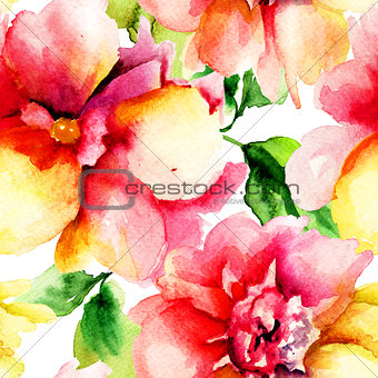 Watercolor painting with Red flowers