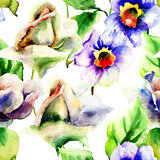 Watercolor painting with Roses and Narcissus flowers
