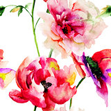 Seamless wallpaper with Colorful flowers