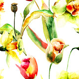 Seamless wallpaper with Narcissus and Tulips flowers