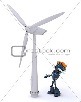Android with wind turbine