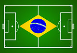 soccer field with Brasil flag