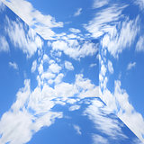 blue sky with clouds in three-dimensional