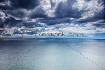 Overcast weather over sea