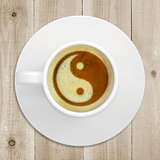 Picture the yin-yang in coffee foam